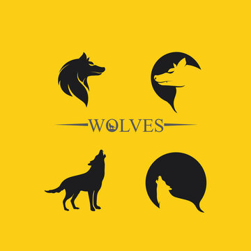 wolves logo, fox, wolf head, animal vetor and logo design wild  roar dog illustration, abstract for game logo symbol head animal