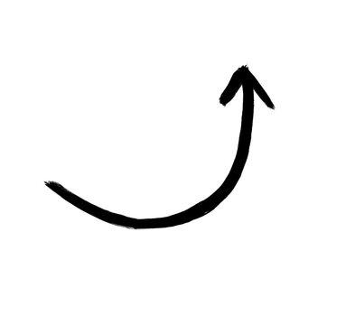 Pinsel Pfeil mit schwarzer Farbe zeigt mit Schwung nach oben
