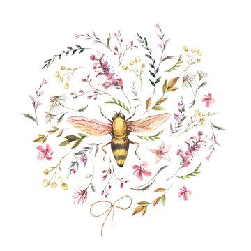 Watercolor bee illustration. Vintage wildflowers wreath. Natural botanical illustration
