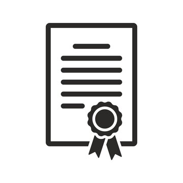 Certificate icon. Achievement, award, grant, diploma. Vector icon isolated on white background.