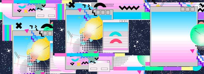 Fototapeta Vaporwave music seamless pattern. Contemporary cyberpunk background. Surreal retrofuturistic vector illustration. Glitch in universe. 80s and 90s internet pop culture style obraz
