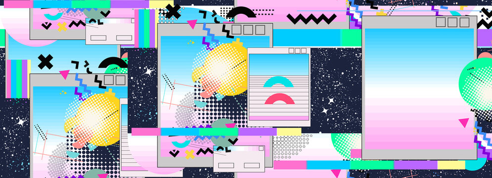 Vaporwave music seamless pattern. Contemporary cyberpunk background. Surreal retrofuturistic vector illustration. Glitch in universe. 80s and 90s internet pop culture style