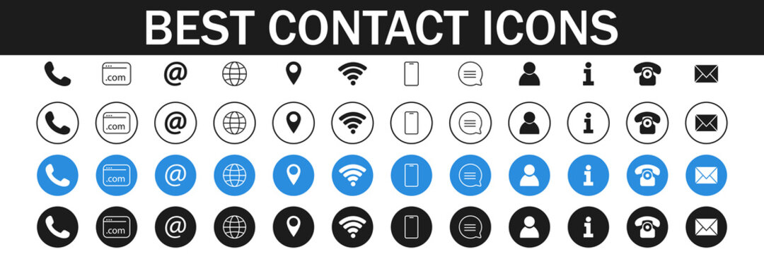 Collection of Business symbols. Contact us signs. Location and contact icons. Simple symbols. Vector illustration. EPS 10