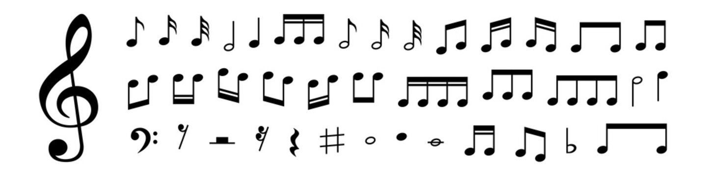 Collection of Music notes. Musical key signs. Vector symbols on white background. Vector illustration. EPS 10