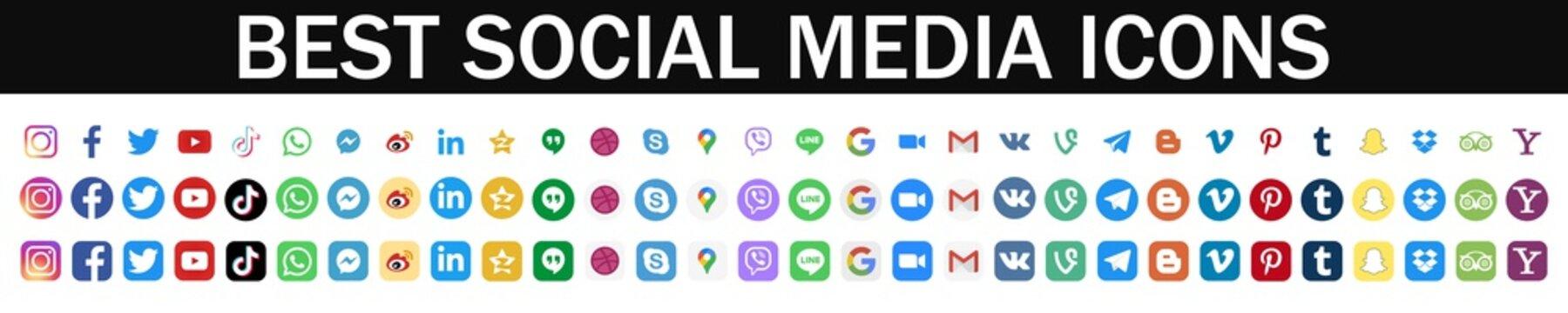 Instagram, Facebook, Twitter, Whatsapp, TikTok, Youtube, Viber etc - popular social media, messengers, video platform, internet services. Google applications symbols. Kyiv, Ukraine - January 31, 2021