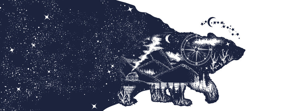 Animals in universe. Esoteric grizzly bear and night sky. Double exposure. Symbol of adventure, tourism and meditation. Black and white surreal graphic