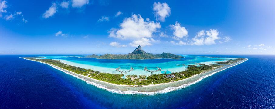Aerial panorama of the Bora Bora atoll, French Polynesia, Oceania