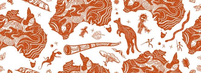 Fototapeta Australia. Old school tattoo background. Australian map, kangaroo and  didgeridoo. Tradition and culture obraz