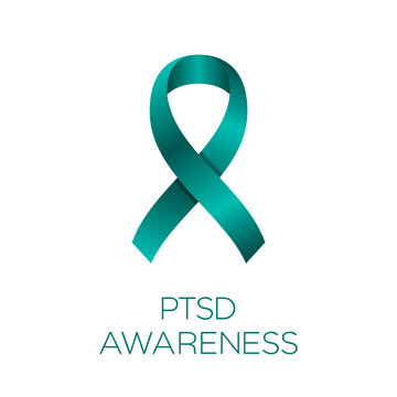 PTSD awareness ribbon. Post Traumatic Stress Disorder awareness day or month. Teal ribbon on white background. June 27. Anxiety triggered by a terrifying events. Vector illustration, flat, clip art.