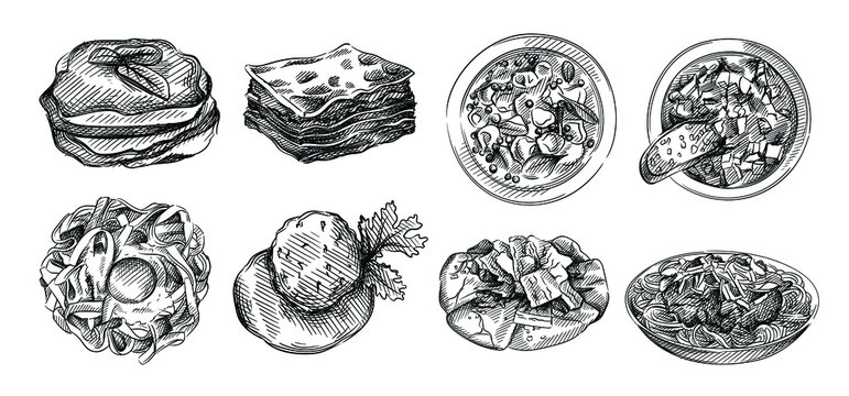 Hand drawn sketch of Italian cuisine. Carpaccio, Tagliatelle Bolognese, Lasagna, Ribollita, Tortellini in broth, Eggplant Tomato Gratin, Parmigiana, arancini, rice balls, carbonara pasta, pizza