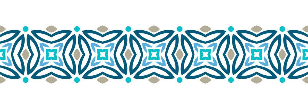 Border line seamless background. Decorative design seamless ornamental mosaic border pattern. Islamic, indian, arabic motifs. Abstract flower. Vector illustration