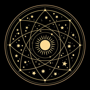 Cosmic esoteric composition of lines of symbols and stars