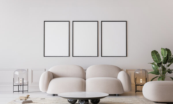 White living room in modern design, minimal clear space  with frame mockup on empty bright background, 3d render