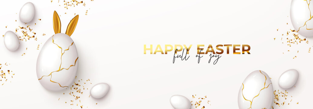 Happy Easter horizontal banner. Top view on white eggs with golden liquid and golden confetti. Vector illustration with 3d decorative objects. Greeting banner.