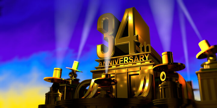 34th anniversary in thick letters on a golden building illuminated by 6 floodlights with white light on a blue sky at sunset. 3D Illustration