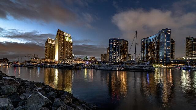 Seaport village San Diego at night