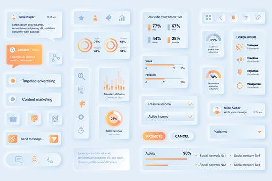 User interface elements for social media marketing mobile app. Unique neumorphic design UI, UX, GUI, KIT elements template. Neumorphism style. Different form, components, button, menu, vector icons.