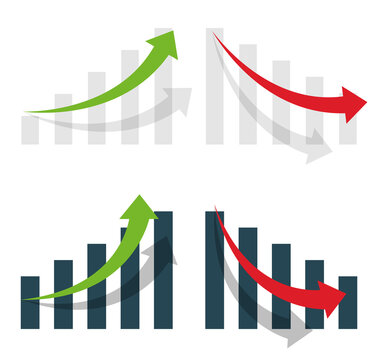 Graph or diagram with arrow going up and down. Graph rise and fall business. Vector  illustration.