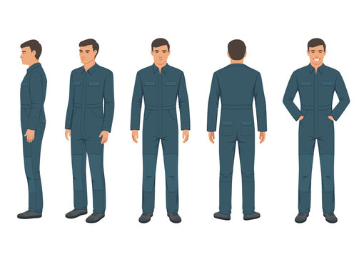 vector illustration of man in a protective suit, worker wear on white background. safety uniform
