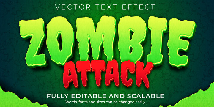 Zombie horror text effect, editable monster and scary text style