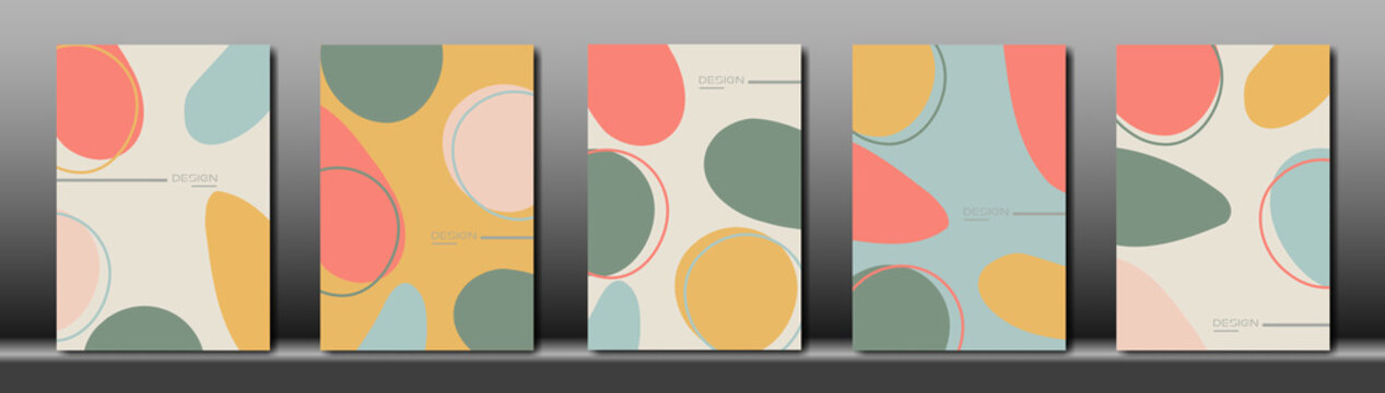 Set Creative cover design vector for post story template ,Social media posts, Story and photos, Editable collection backgrounds with Tropical leaf with simple shapes and pastel colors