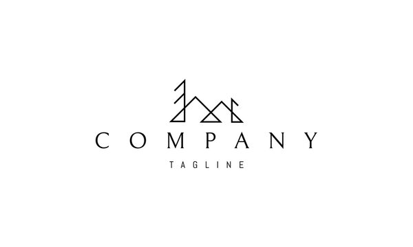 Vector logo on which an abstract image of mountains and trees in a minimalistic style.