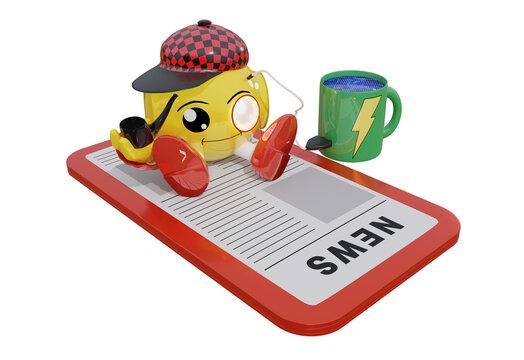 Niedlicher Roboter sitzt mit der Pfeife in der Hand auf einem Handy und liest Zeitung. Dabei tankt er Energie aus einer Tasse.