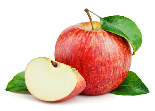 Ripe red apple fruit with slice and green leaves isolated on white background with clipping path