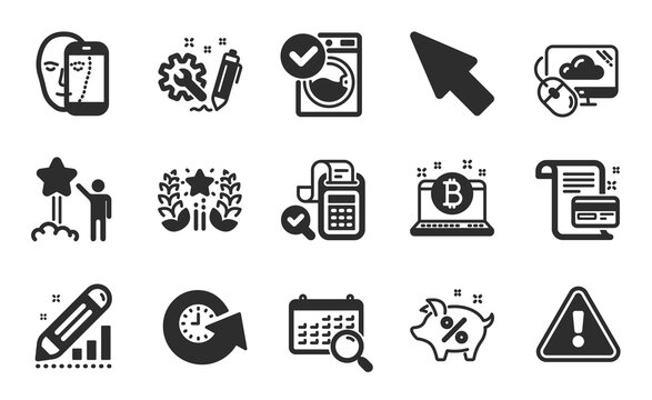 Search calendar, Star and Edit statistics icons simple set. Ranking, Bill accounting and Mouse cursor signs. Engineering, Cloud computing and Loan percent symbols. Flat icons set. Vector