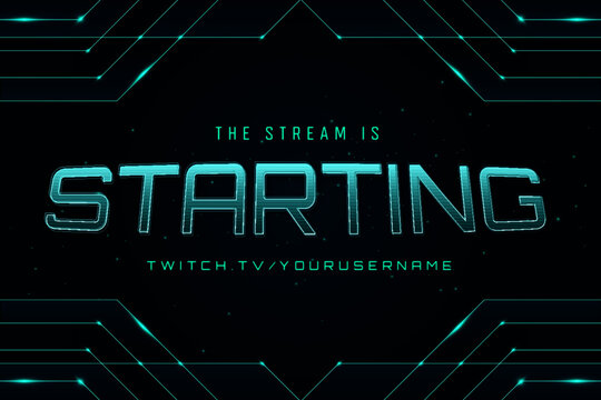 Abstract neon gaming streaming starting banner dark background