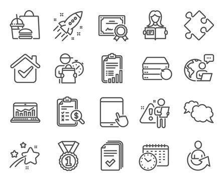 Education icons set. Included icon as Calendar time, Tablet pc, Web analytics signs. Best rank, Share, Certificate symbols. Messenger, Checklist, Startup rocket. Woman read, Handout. Vector