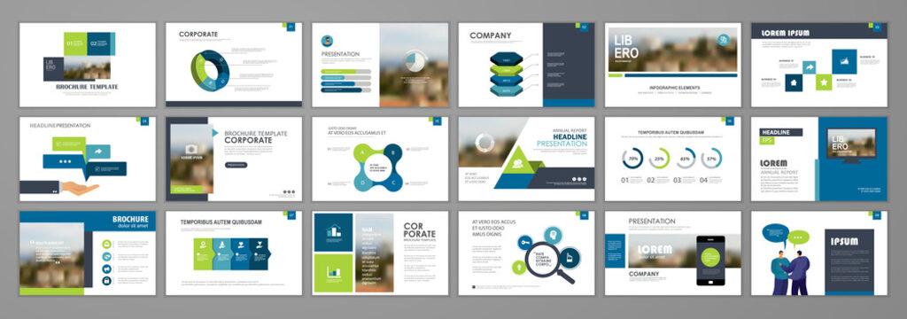Business presentation infographic elements template set. Keynote presentation background, powerpoint template design, website ideas, brochure cover design, landing page, annual report brochure. Vector