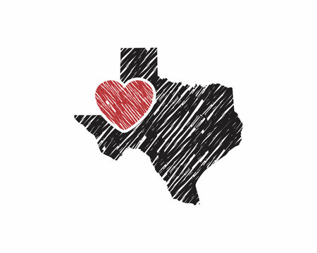Hand Drawing Texas Map And Heart Logo Vector 001