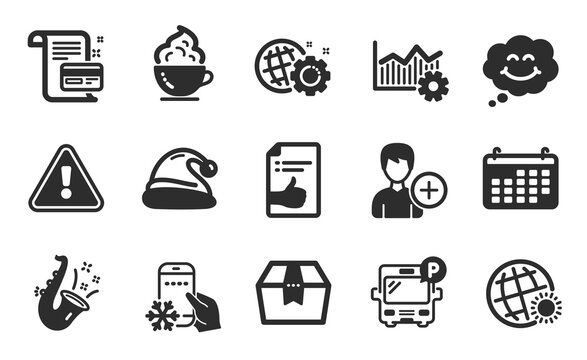 Add person, Seo gear and World weather icons simple set. Operational excellence, Coffee cup and Refrigerator app signs. Calendar, Approved document and Package box symbols. Flat icons set. Vector