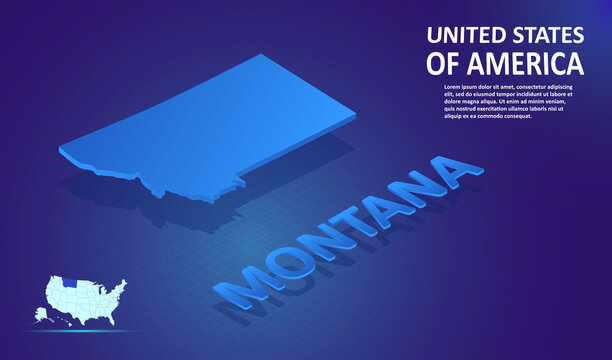 Isometric Montana State map on blue and glowing background. 3D Detailed Map in perspective with place for your text or description. Technology Information Graphic Elements for design and template.