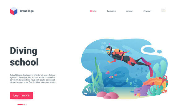 Diving school vector illustration. Cartoon diver character wearing diving swimming suit to swim in underwater world, snorkeling with aquatic animal, fish shoal at deep sea or ocean bottom landing page