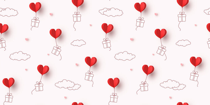 Hearts balloons and gift boxes seamless pattern. Vector paper red symbols of love flying on sky background for Happy Mother's or Valentine's Day greeting card design