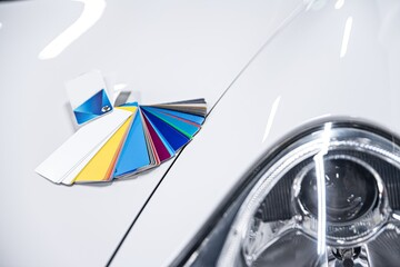 Man choosing color of his car with color sampler. Car foil wrapping colors picker