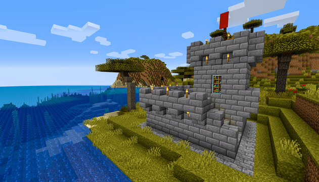 Minecraft Game – January 31 2021: Sample of Simply Stone Medieval Castle in Minecraft Game 3D illustration. Editorial