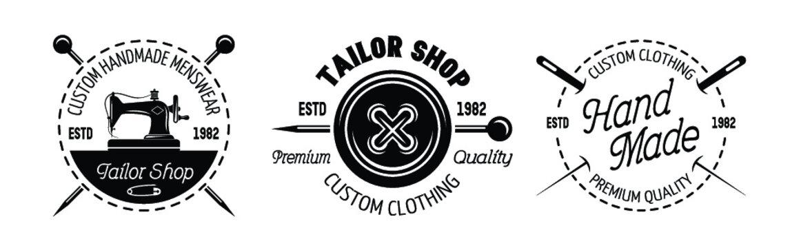 Black and white vintage tailor shop logo set