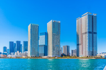 Fototapeta 東京,中央区,晴海のタワーマンションと東京湾・東京/日本