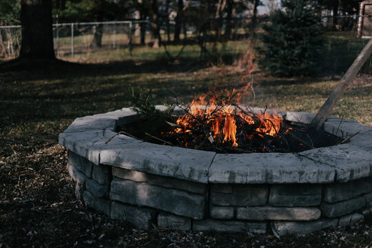 Backyard bonfire spring clean up outdoor firepit