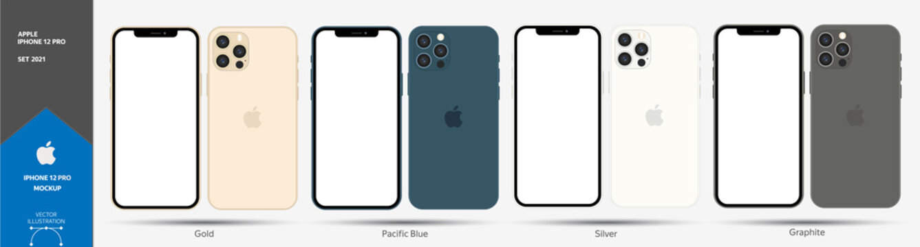 Apple Iphone 12 Pro, Iphone 12 Pro Max Mockup. Blank Screen Template. Stock Vector