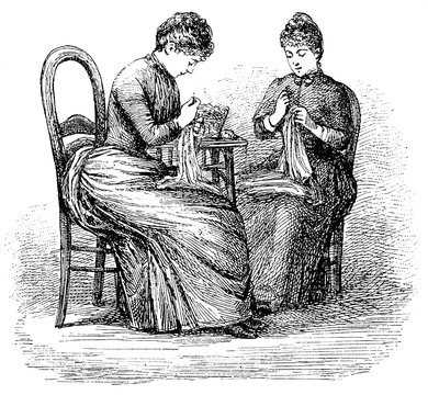 How to sit at work. The woman on the left has a bad posture when working. Illustration of the 19th century. Germany. White background.
