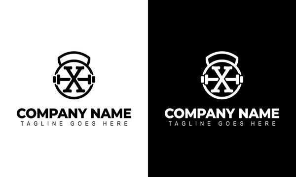 Letter X Logo With a barbell   Fitness Gym Logo   Vector Illustration of Logo Design