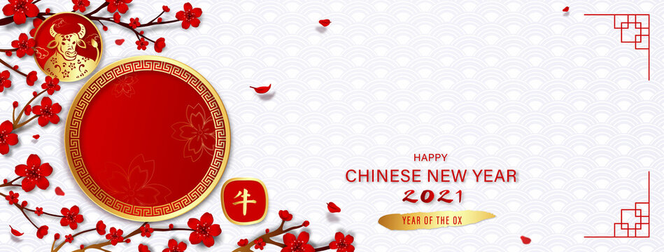 Happy Chinese new year 2021 year of the ox banner background with empty red circles for your texts or pictures on white oriental wave pattern, Chinese text means ox