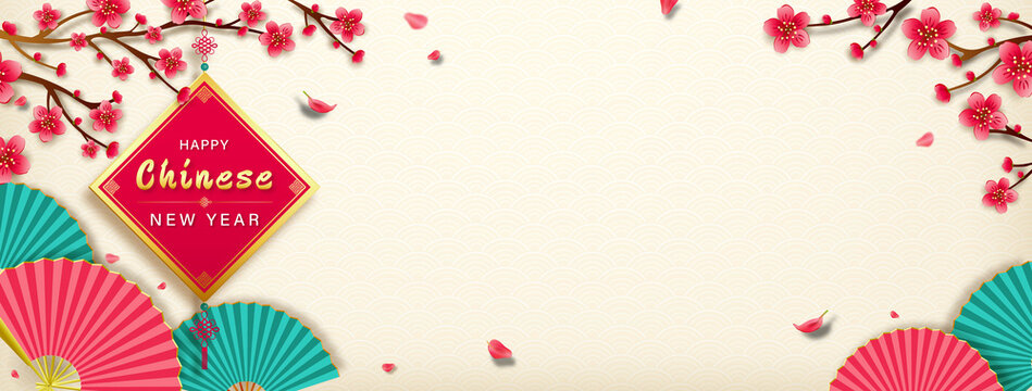 Happy Chinese new year banner design in antique white color wave pattern background with copy space