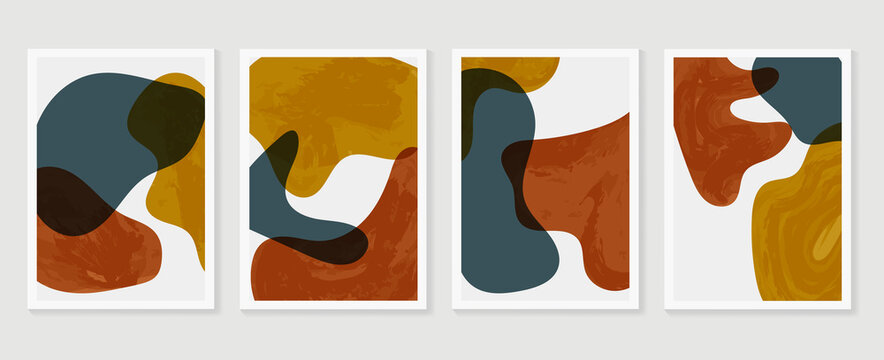 Abstract wall arts vector background collection.  Earth tones Hand drawn organic shape art design for wall framed prints, canvas prints, poster, home decor, cover, wallpaper.