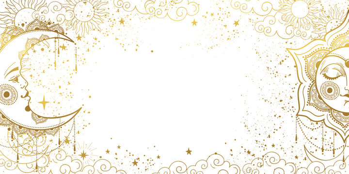 White magic background with sleeping golden sun with face and crescent moon, space pattern with copy space and stars. Layout for astrology, tarot, banner for the witch. Divine boho design,  vector
