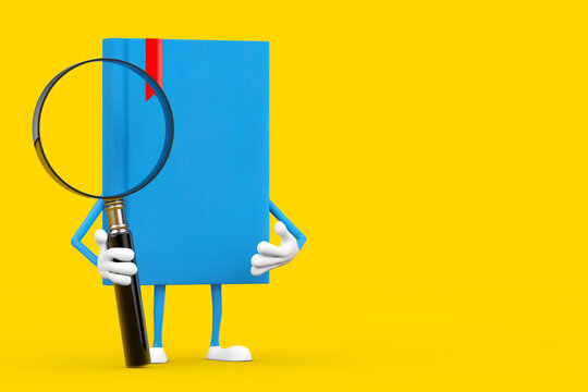 Blue Book Character Mascot with Magnifying Glass. 3d Rendering